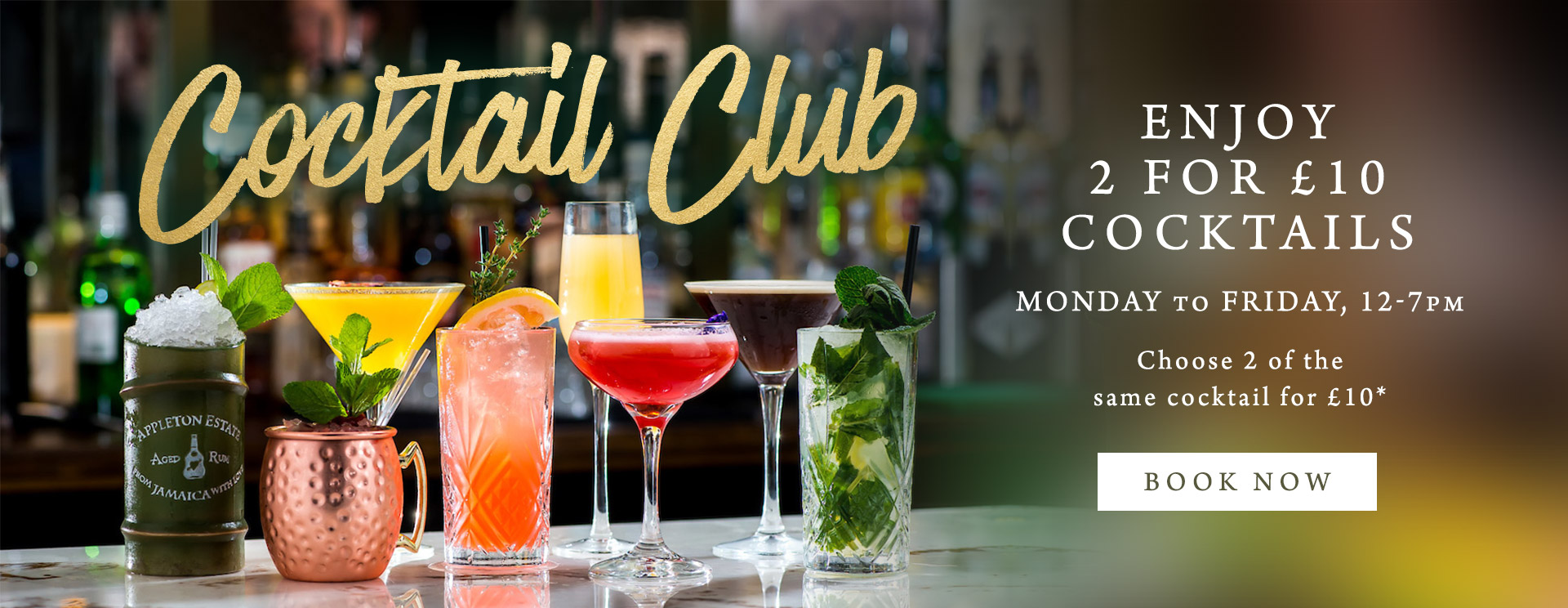 2 for £10 cocktails at The Cliff