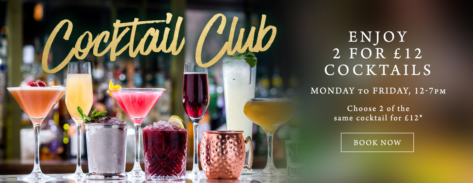 2 for £12 cocktails at The Cliff